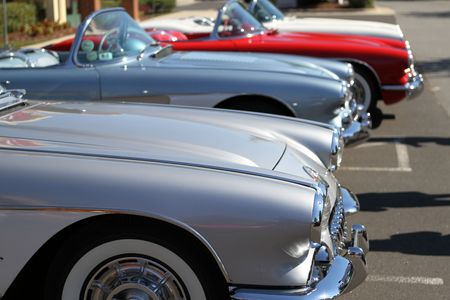 corvette: Vintage Corvettes on display at a car show in Raleigh, NC