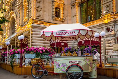 Bosco cafe in front of GUM department stores in Moscow, Russia