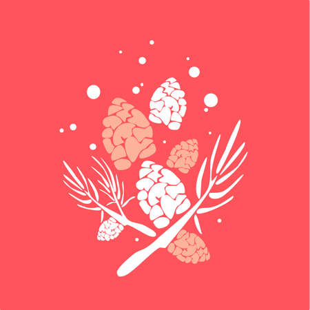 christmas bouquet from cones and pine branches under the snow for holliday poster