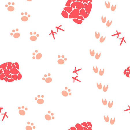 seamless pattern with beige animal stepps and red cones Vector Illustratie