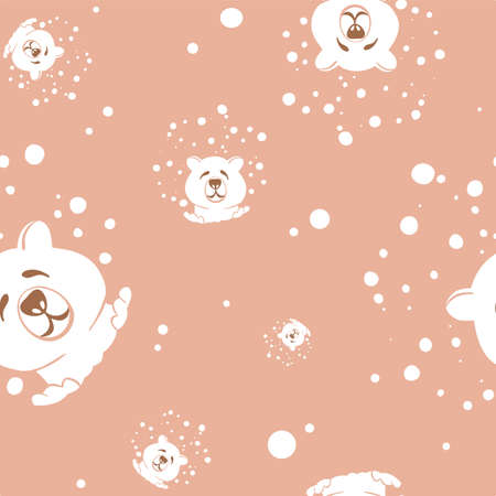 seamless pattern with smiling head of polar bear with snow Illusztráció