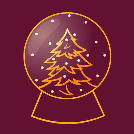 golden glass snow ball with christmas tree vector illustration, outline style, isolated