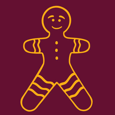 colden christmas gingerbread man vector illustration, outlibe style, isolated