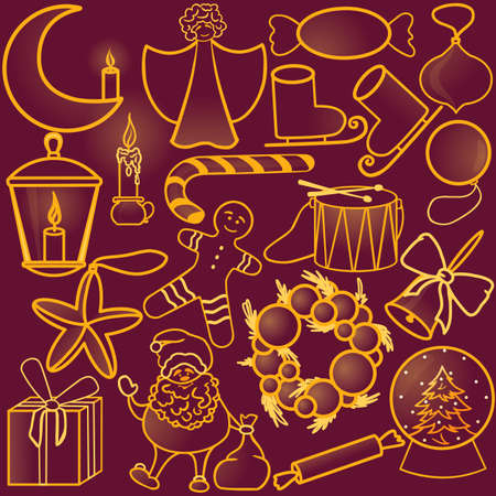 set of golden christmas items vector illustration, outline style, isolated
