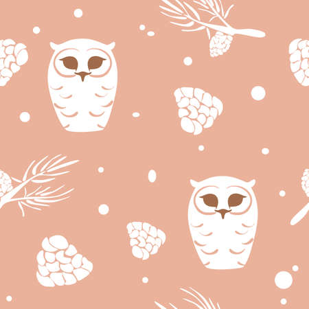 seamless pattern with snowy polar owl, white cones, pine branches, vector, isolated