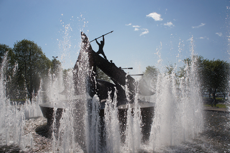 Fountain statue giving honors to the history of whaling in Sandefjord, Norway