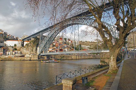 Ponte Dom Luís I (King Luis I Bridge) over the Douro river constructed by Gustave Eiffel group in Porto, Portugal