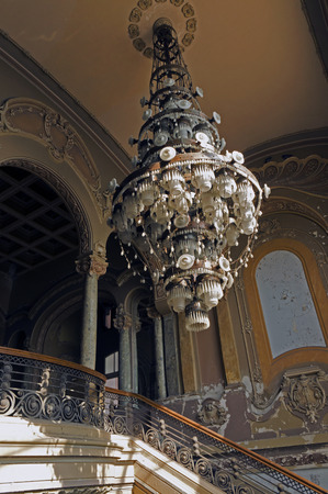 sumptuous: Constan?a (Constanta, Constanta) Casino in Romania - abandoned art deco building - chandelier over main staircase