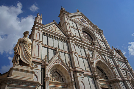 humor: Monument of Dante and the Holy Cross (Basilica di Santa Croce) in Florence, Italy also known as Temple of the Glory (Tempio dellItale Glorie) Stock Photo