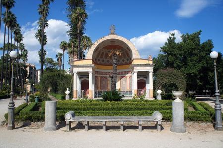 La exedra meridional del parque de Villa Giulia (Villa del Popolo, Villa Flor) en Palermo, Sicilia, Italia