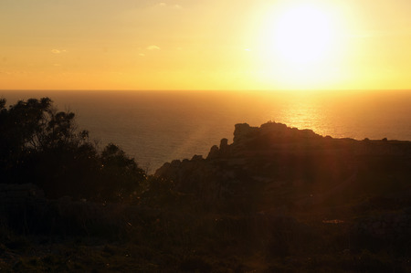 Panorama of Dingli Cliffs in the sunset, Malta 免版税图像