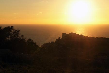 Panorama of Dingli Cliffs in the sunset, Malta 版權商用圖片