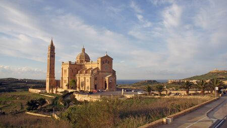 Landscape with basilica of the National Shrine of the Blessed Virgin of Ta' Pinu (Santwarju Bażilika tal-Madonna ta' Pinu) on Gozo Island, Malta