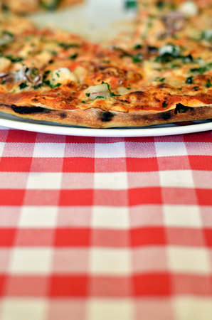 Close-up of Pizza Margherita on a plate and plaid tablecloth
