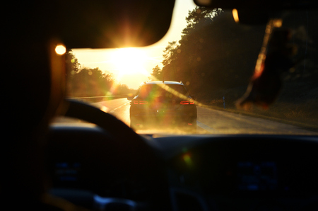 Sunset from a moving car Stok Fotoğraf