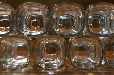 Glasses stand in a row. Stok Fotoğraf