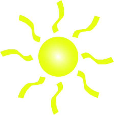 Yellow sun on white background Banco de Imagens
