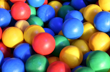 Close-up of plastic balls in a ball bath