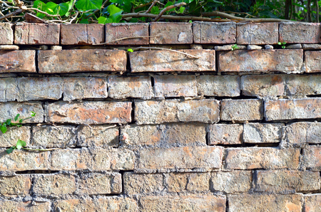 Brick wall of red brick with thick structure Stok Fotoğraf