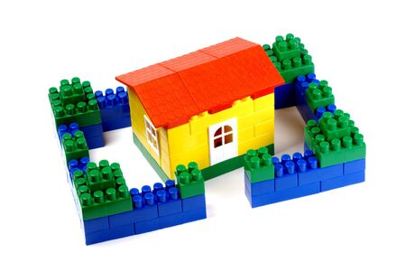 anybody: a house out of toy building blocks Stock Photo