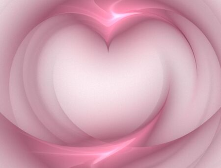 Beautiful, softly flowing pink heart fractal abstract.