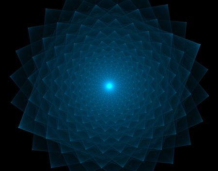 computer art: Beautiful turqouise blue spikes out in a circular pattern in this fractal art, featuring a soft glow in the center.
