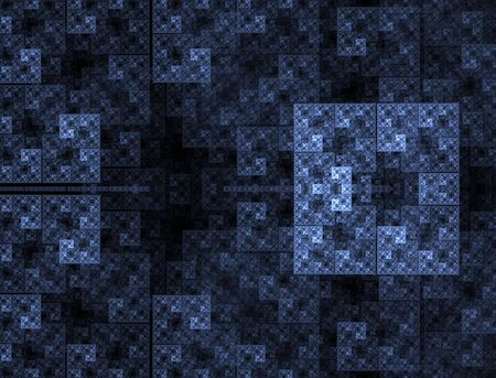 Hues of blues collide and mingle, creating a boxed, mosiac, abstract fractal design. Stock Photo