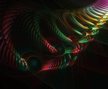 Colorful and bright, this solid style fractal abstract is full of intricate detail and illusion.