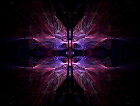 hues: Beautiful hues of pink and purple, with the center split open in this fractal abstract.