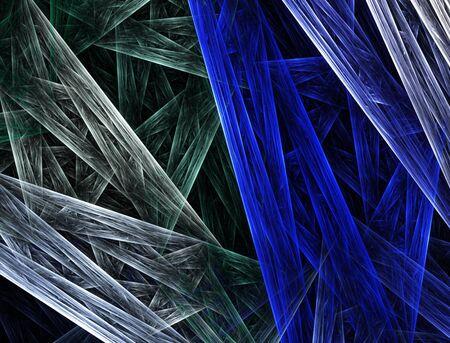 clash: Un choque de colores, de tonos azules y verdes convergen y tejer juntos en este resumen fractal. Foto de archivo