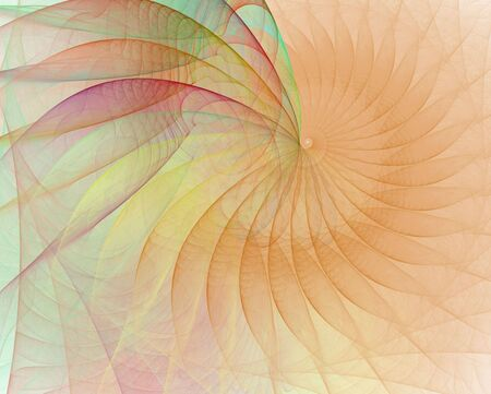 apophysis: Colorful textured cream shell, spirals outward as soft colors enhance the outer edges in this fractal art design with white backdrop.