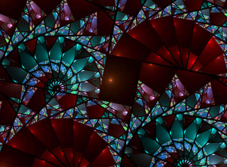 Beautiful, fanning stained glass fractal abstract in rich, colorful hues Stock Photo