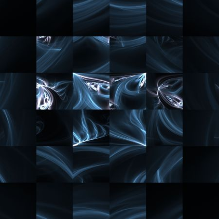 Beautiful blues are in square patterns in this fractal abstract design.