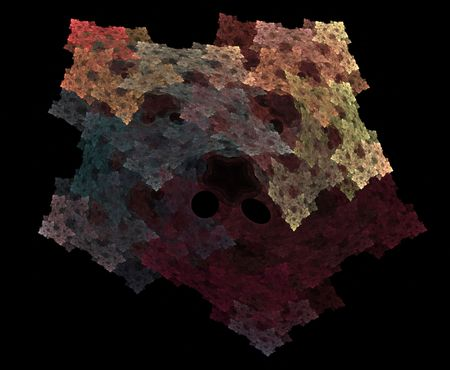 Soft hues of colors merge and combine creating this abstract fractal shape. Stock Photo