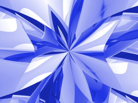 Hues of blue and white combine into a pinched effect, in this 3d abstract render.