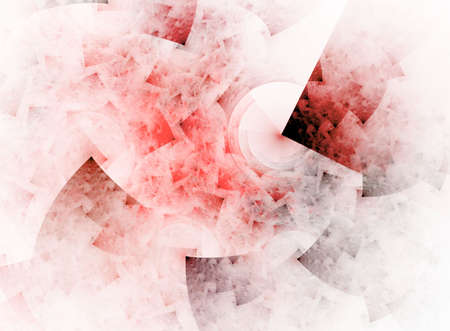 sponged: Hues of red blend into a softy sponged, red squares effect in this fractal abstract against a white backdrop. Stock Photo