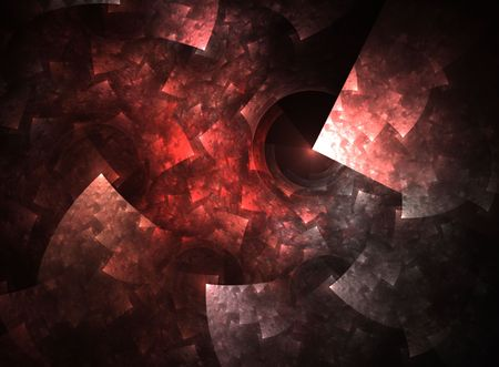 Hues of red blend into a softy sponged, red squares effect in this fractal abstract. 免版税图像
