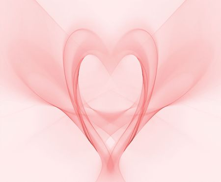 Beautiful, softly sheer pink heart in this fractal abstract render. Stock Photo