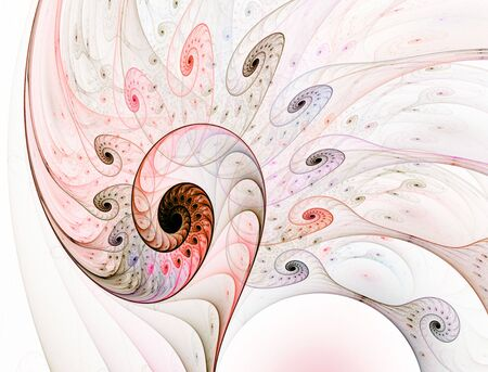 Colorful and intricate, layered spirals full of texture and detail in this fractal abstract against a white backdrop.