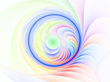 Vivid Ring, colorful layered spiral abstract against white