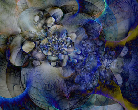 Beautiful bubble clusters with streams of blue and hints of gold in this abstract fractal manipulation.