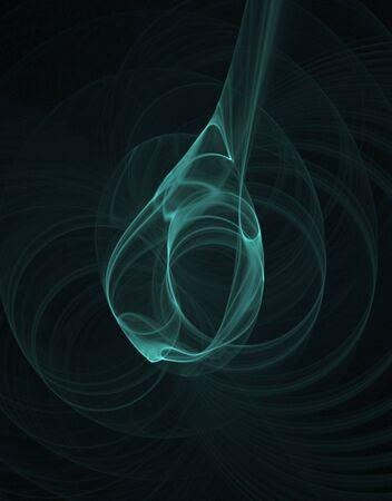teardrop: Green teardrop fractal abstract against black