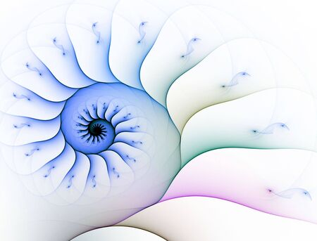 Soft outlined spiral, computer generated, fractal abstract background.