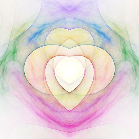 Layered colorful heart pattern, computer generated, fractal abstract background.