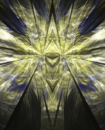 Yellow and blue, computer generated, fractal abstract background. Stock fotó