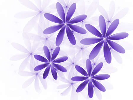 Beautiful layered purple flowers, computer generated, fractal abstract background.