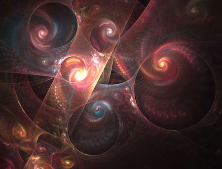 Colorful layered spirals, computer generated, fractal abstract background.