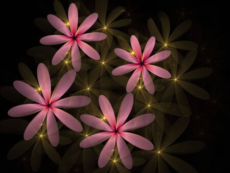 Pink flowers accented with yellow light, computer generated, fractal abstract background.