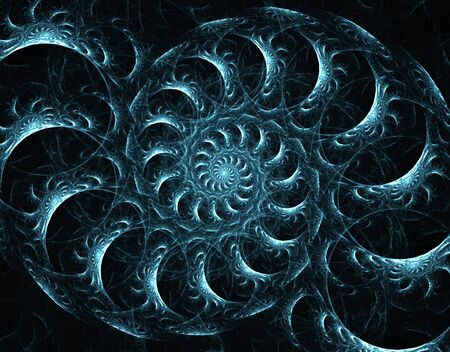 Blue green colored layered spiral, computer generated, fractal abstract background.