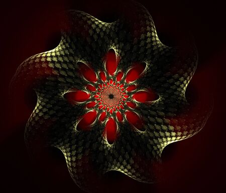 Gold textured mandala star accentuated with red, computer generated, fractal abstract background.